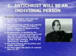 c antichrist will be an individual person