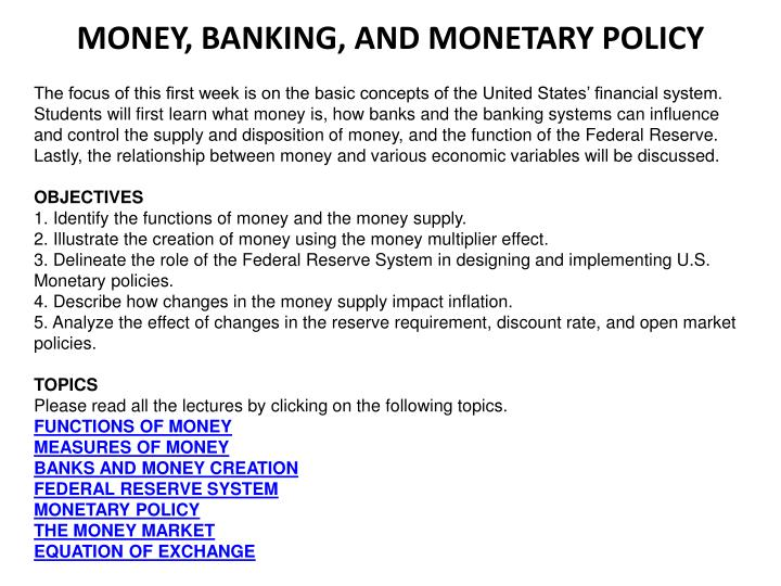 PPT - MONEY, BANKING, AND MONETARY POLICY PowerPoint Presentation