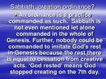 sabbath creation ordinance