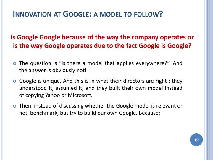 Innovation at Google: a model to follow?