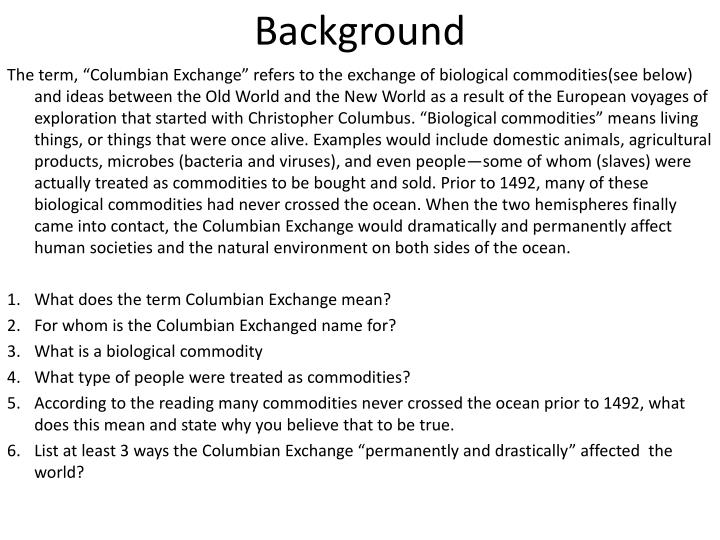 major elements of the columbian exchange and how it affected both amerindians and europeans