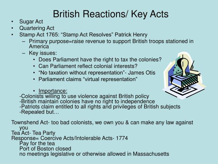 British Reactions/ Key Acts