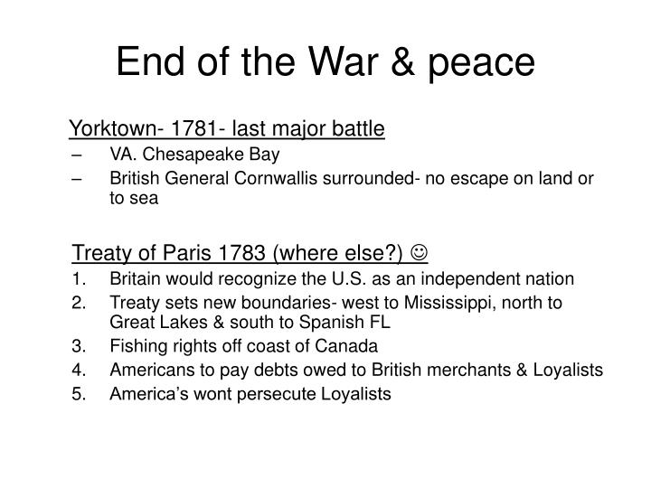 End of the War & peace