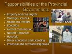 responsibilities of the provincial governments