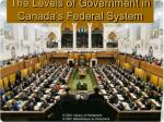 the levels of government in canada s federal system
