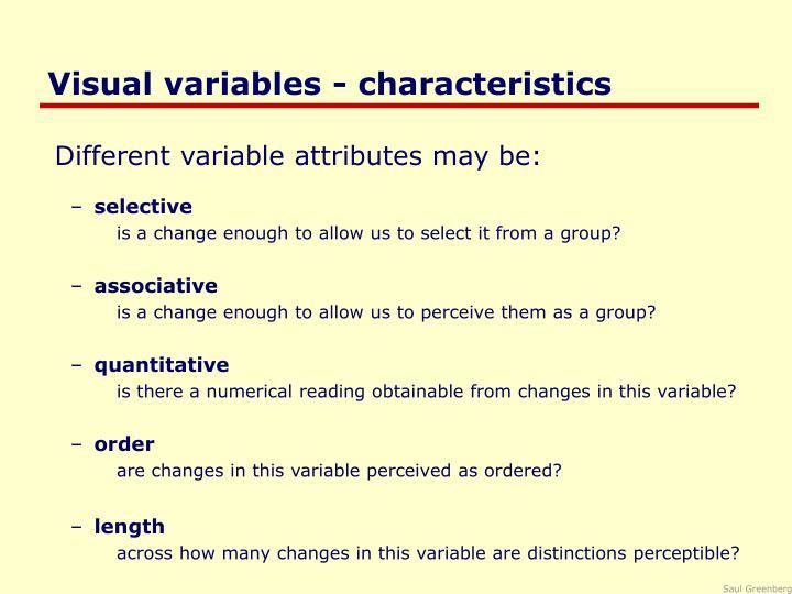 Visual variables characteristics