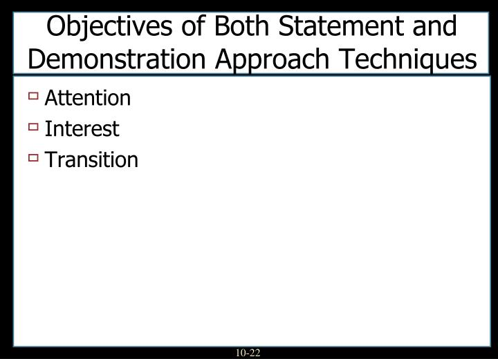 Objectives of Both Statement and Demonstration Approach Techniques
