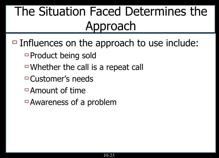 The Situation Faced Determines the Approach