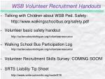 wsb volunteer recruitment handouts