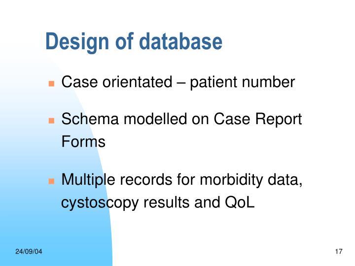 Design of database