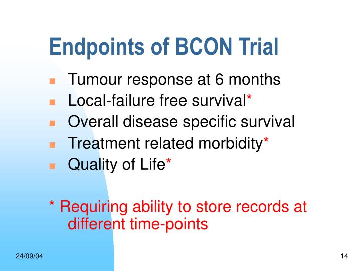 Endpoints of BCON Trial