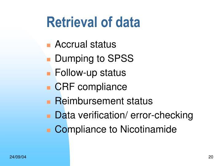 Retrieval of data