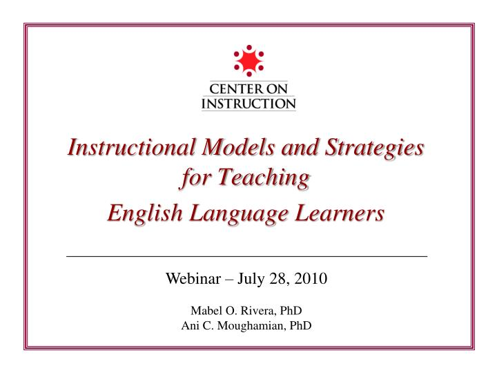 instructional models and strategies for teaching english language learners n.