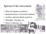 spread of the movement