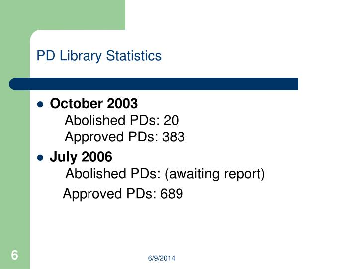 PD Library Statistics