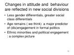 changes in attitude and behaviour are reflected in new social divisions