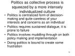 politics as collective process is squeezed by a more intensely individualized culture