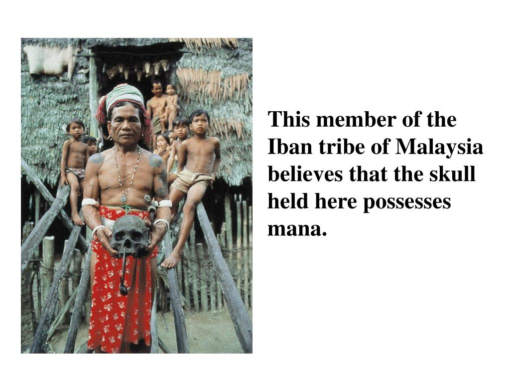 This member of the Iban tribe of Malaysia believes that the skull held here possesses mana.