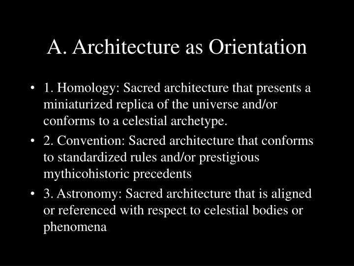 A architecture as orientation