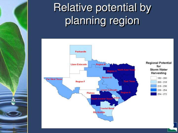 Relative potential by planning region