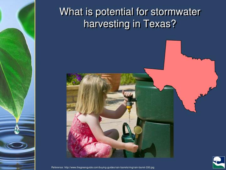 What is potential for stormwater harvesting in Texas?