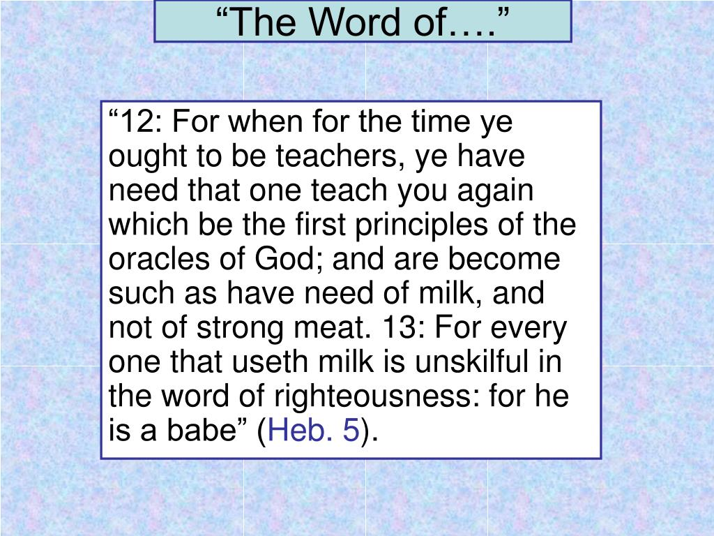 """""""The Word of…."""""""