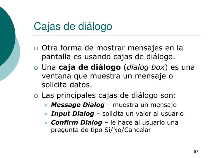 Cajas de diálogo