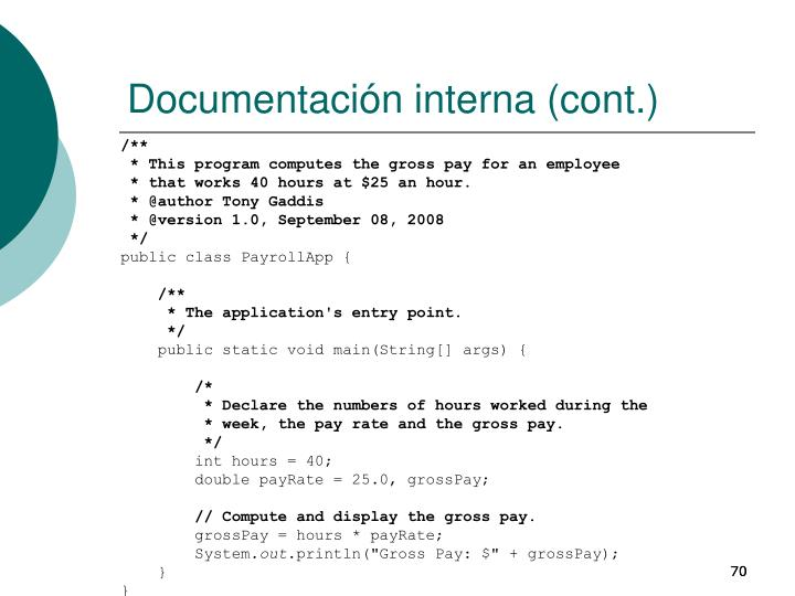 Documentación interna (cont.)