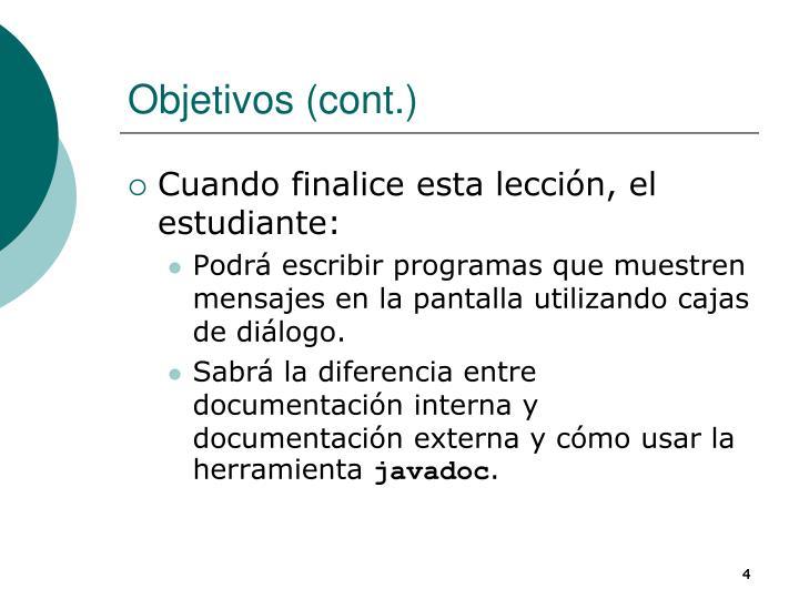 Objetivos (cont.)
