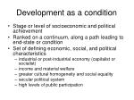 development as a condition