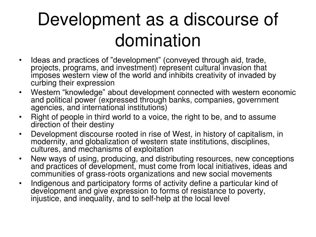 Development as a discourse of domination