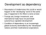 development as dependency