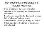development as exploitation of natural resources