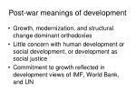 post war meanings of development