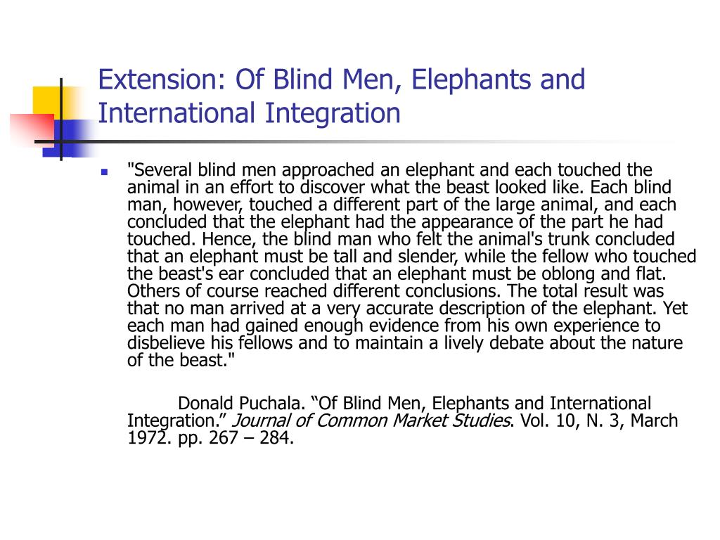 Extension: Of Blind Men, Elephants and International Integration