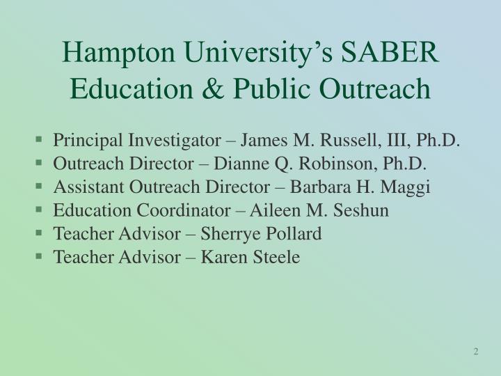 Hampton university s saber education public outreach