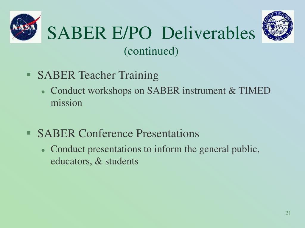 SABER E/PO  Deliverables