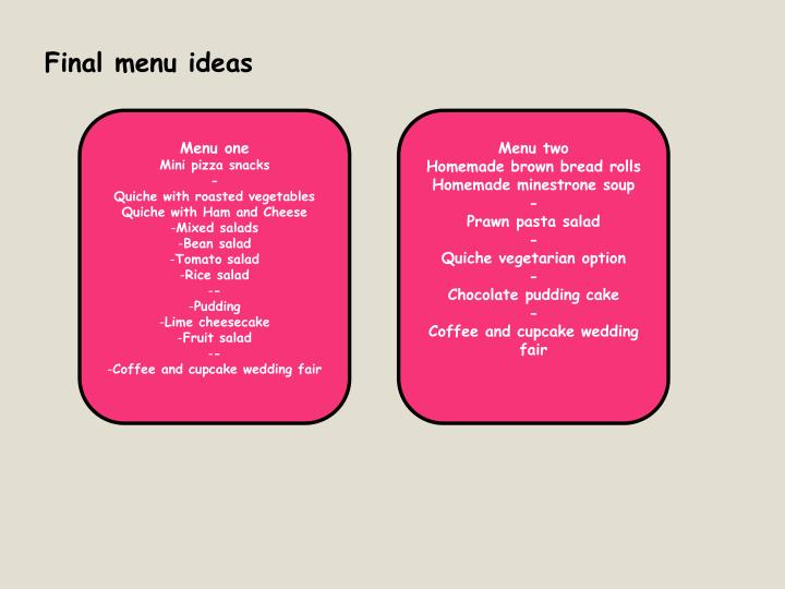 Final menu ideas