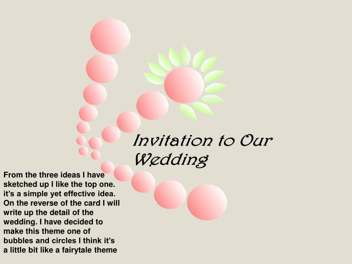 From the three ideas I have sketched up I like the top one. it's a simple yet effective idea. On the reverse of the card I will write up the detail of the wedding. I have decided to make this theme one of bubbles and circles I think it's a little bit like a fairytale theme