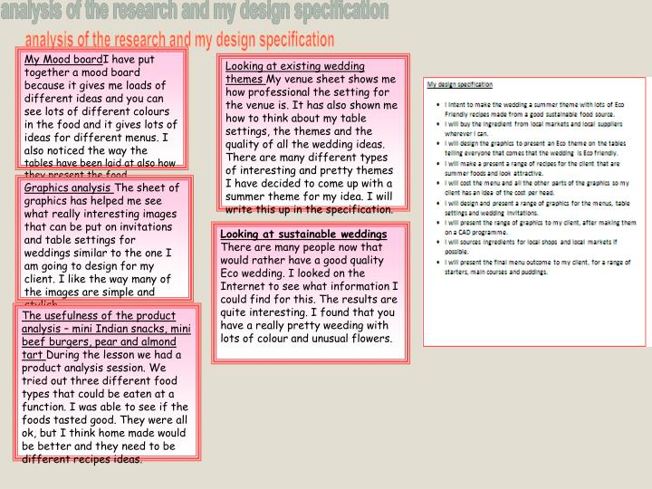 analysis of the research and my design specification