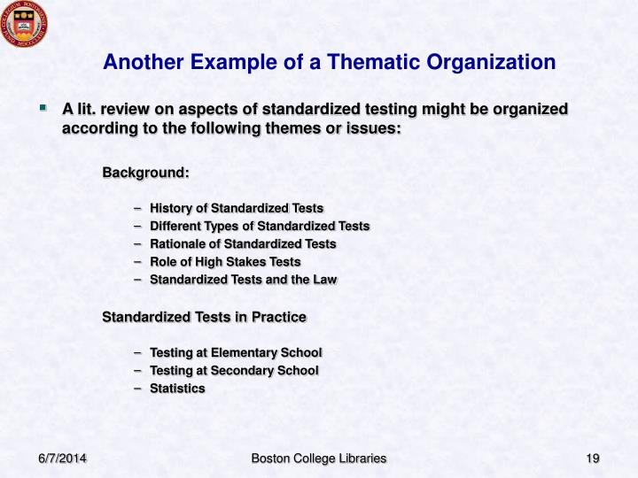 Another Example of a Thematic Organization