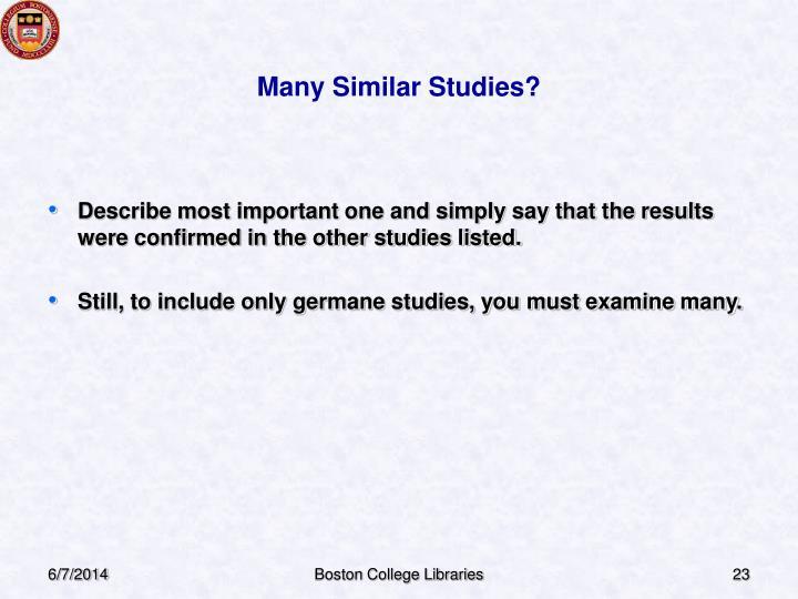 Many Similar Studies?
