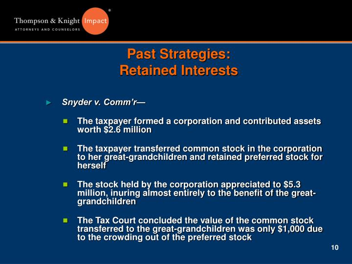 Past Strategies: