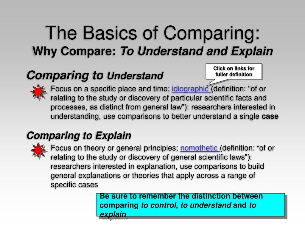 The Basics of Comparing: