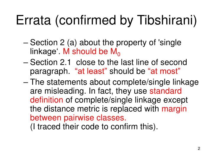 Errata confirmed by tibshirani