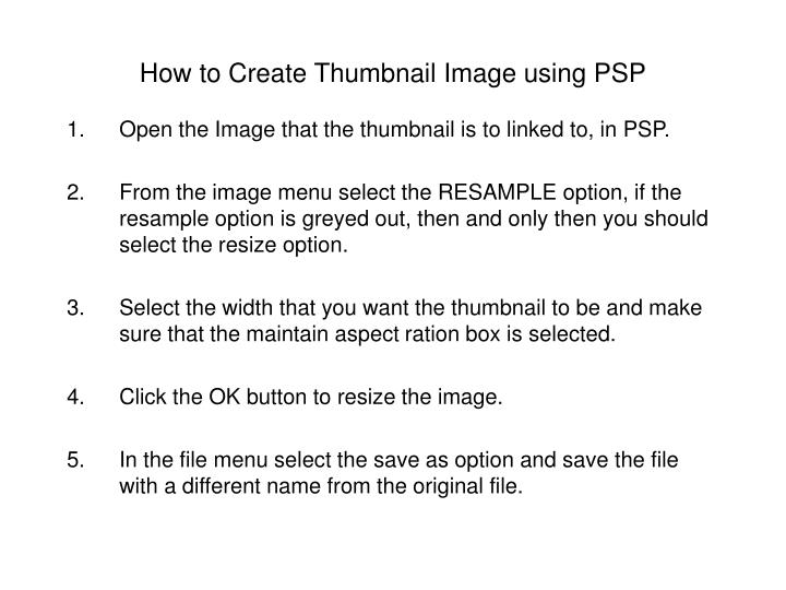 How to Create Thumbnail Image using PSP