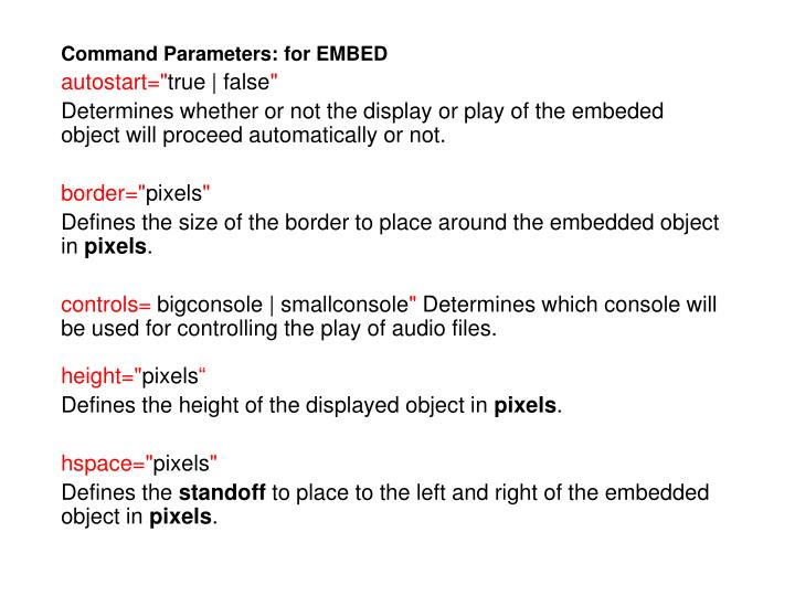 Command Parameters: