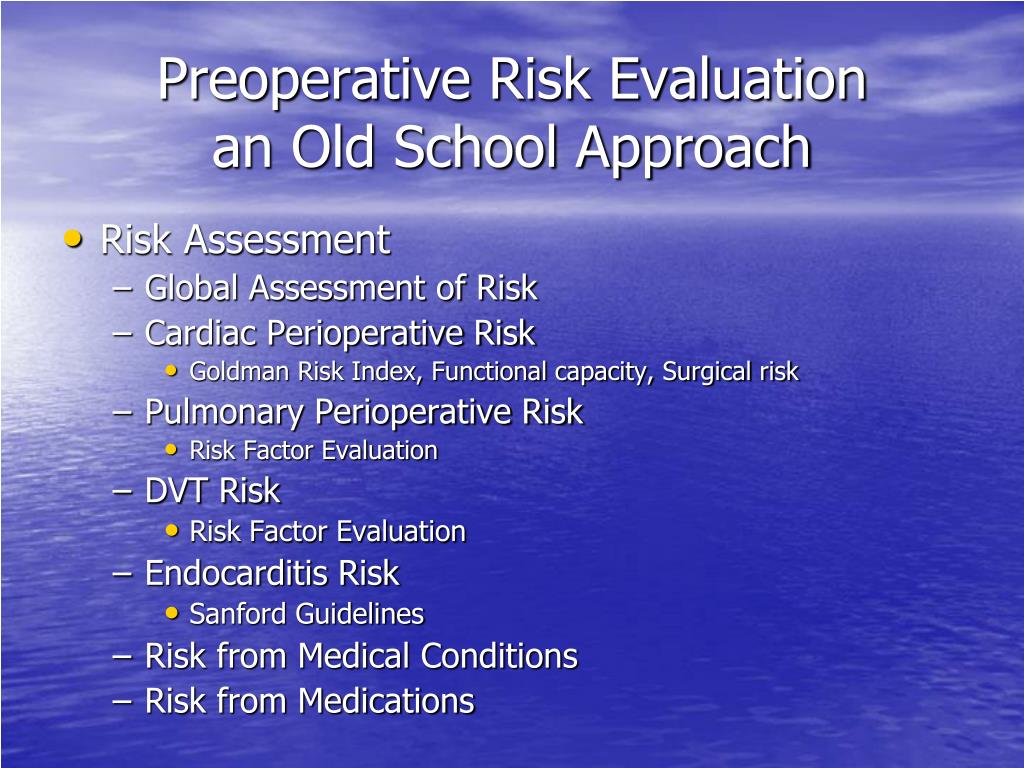 Preoperative Risk Evaluation