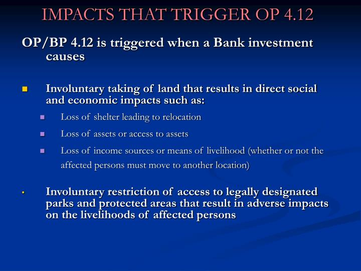 Impacts that trigger op 4 12