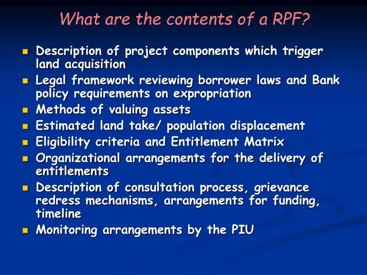 What are the contents of a RPF?